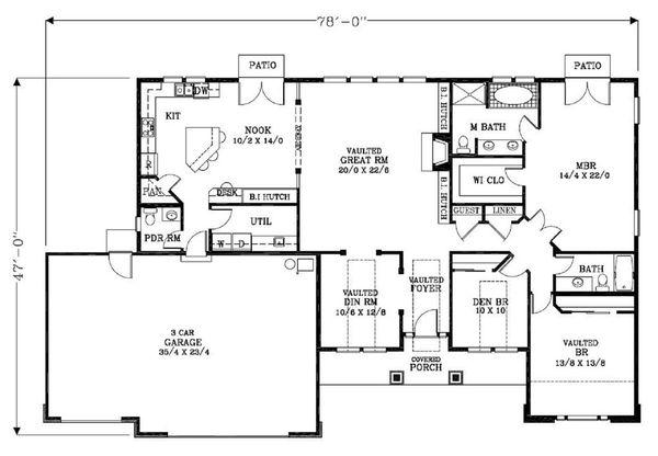 Craftsman Floor Plan - Main Floor Plan Plan #53-542
