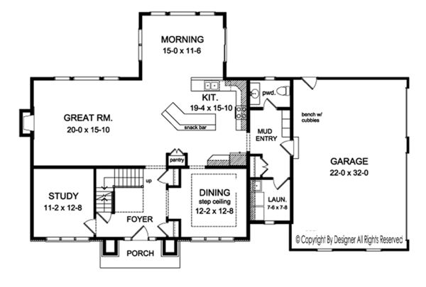 Colonial Floor Plan - Main Floor Plan Plan #1010-196