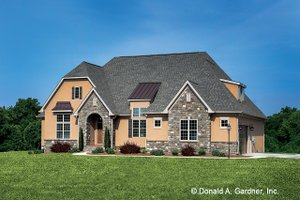 European Exterior - Front Elevation Plan #929-957