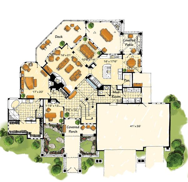 House Design - Craftsman Floor Plan - Main Floor Plan #942-16