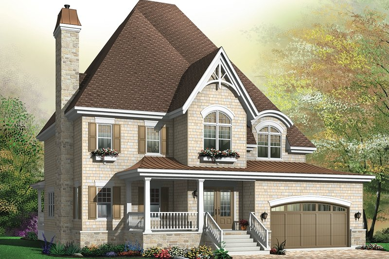 European Exterior - Front Elevation Plan #23-657