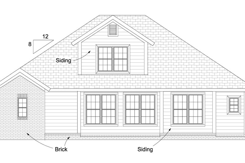Cottage Exterior - Rear Elevation Plan #513-2079 - Houseplans.com