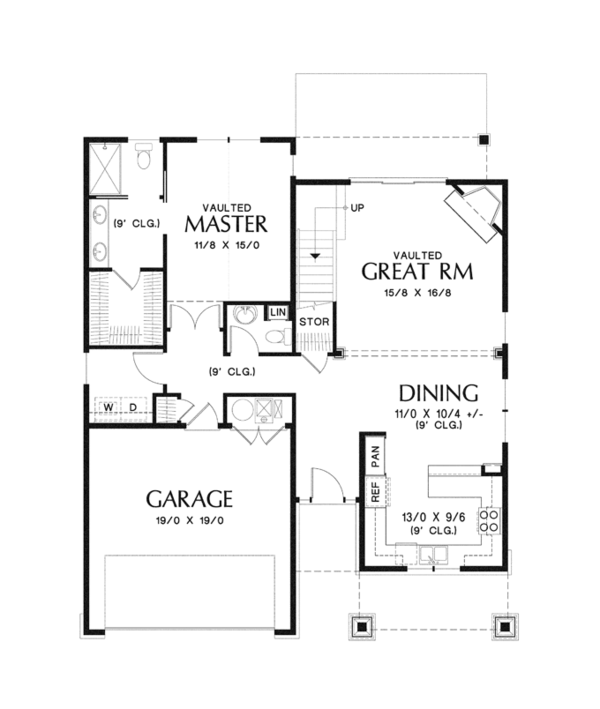 Craftsman Floor Plan - Main Floor Plan Plan #48-900