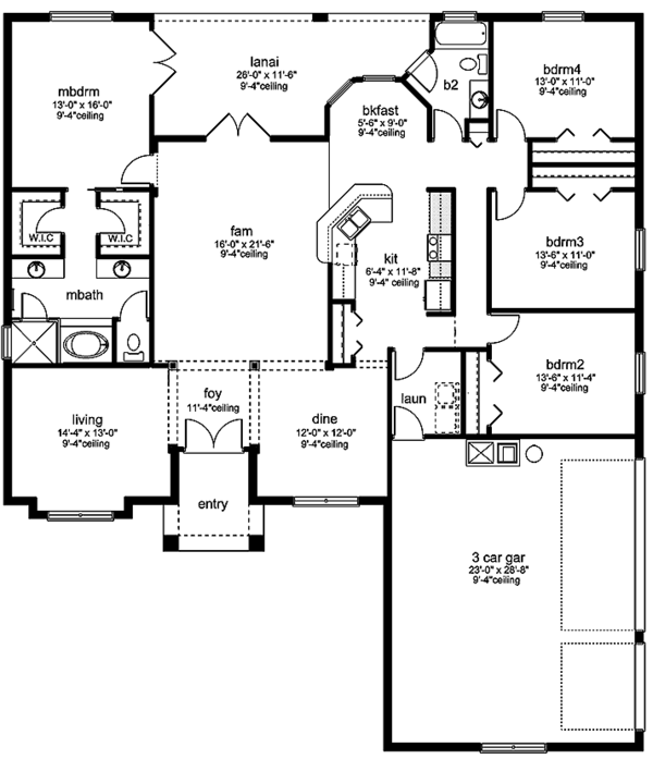 European Floor Plan - Main Floor Plan Plan #1058-133