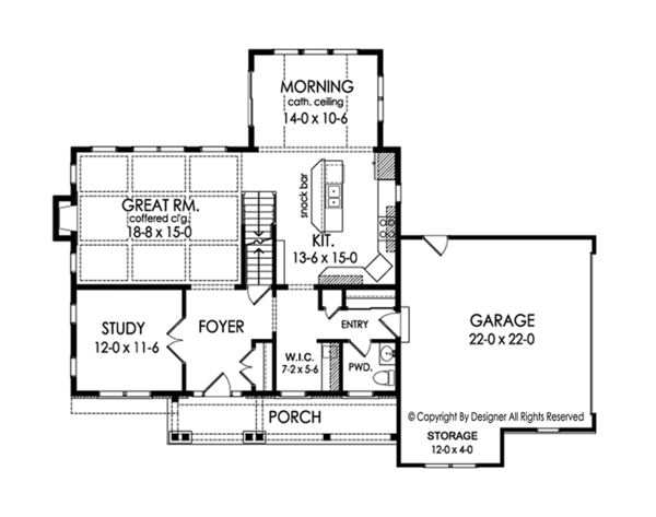 House Design - Traditional Floor Plan - Main Floor Plan #1010-186