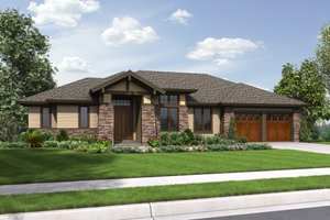 Dream House Plan - Prairie Exterior - Front Elevation Plan #48-657