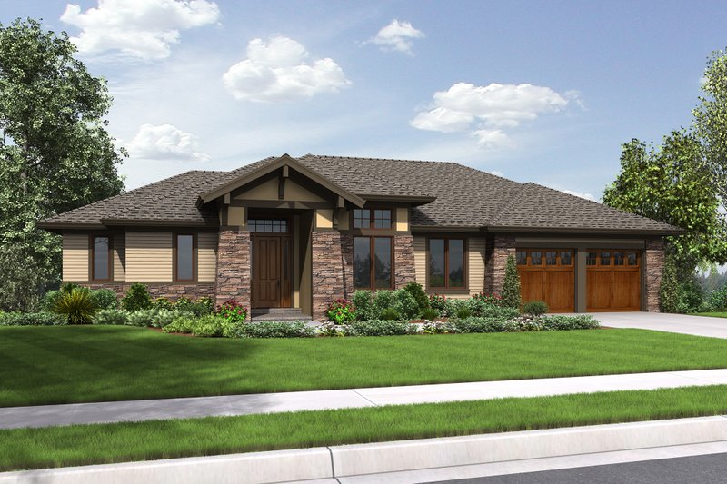Prairie Exterior - Front Elevation Plan #48-657 - Houseplans.com