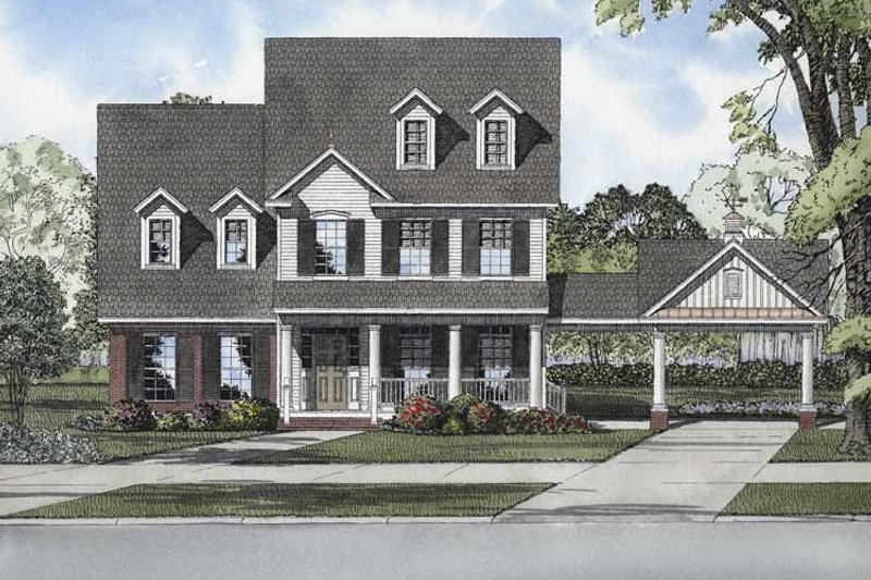 Colonial Exterior - Front Elevation Plan #17-2874