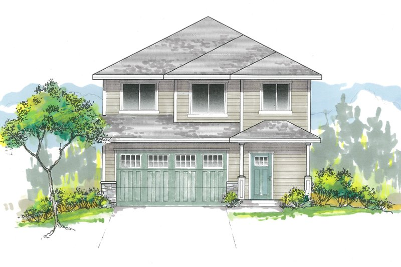Craftsman Style House Plan - 3 Beds 2.5 Baths 1555 Sq/Ft Plan #53-642 Exterior - Front Elevation