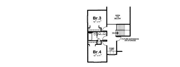 Traditional Floor Plan - Upper Floor Plan Plan #20-2083