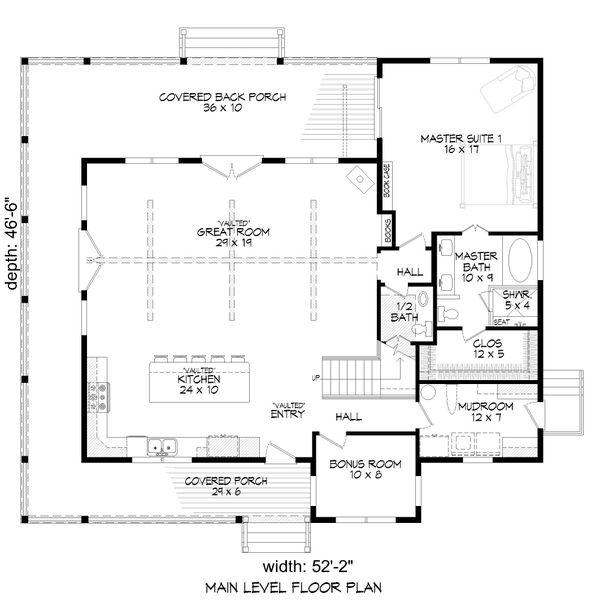Country Floor Plan - Main Floor Plan #932-311