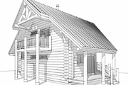 Log Style House Plan - 1 Beds 2 Baths 939 Sq/Ft Plan #451-9 Exterior - Rear Elevation