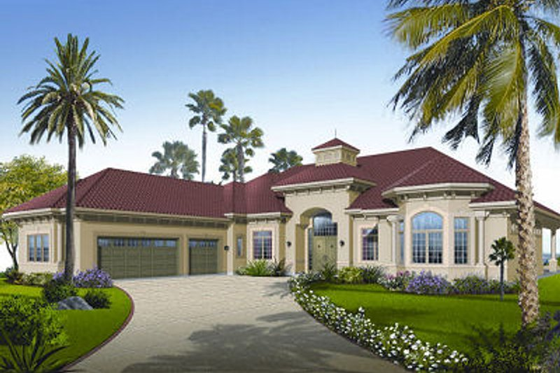 Mediterranean Exterior - Front Elevation Plan #23-788