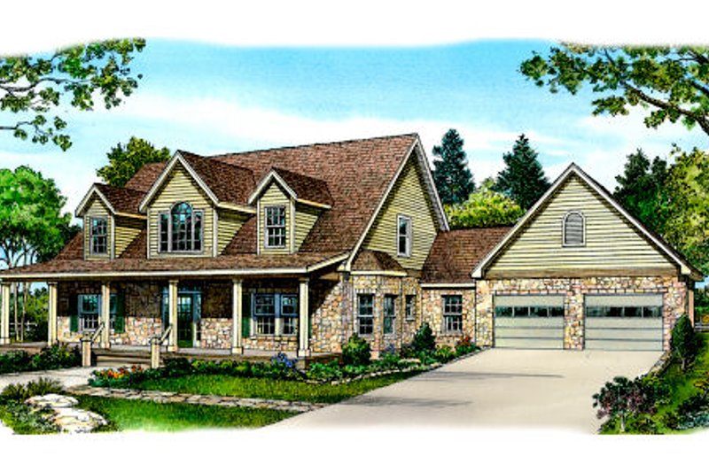 Country Style House Plan - 3 Beds 2.5 Baths 2728 Sq/Ft Plan #140-152 Exterior - Front Elevation