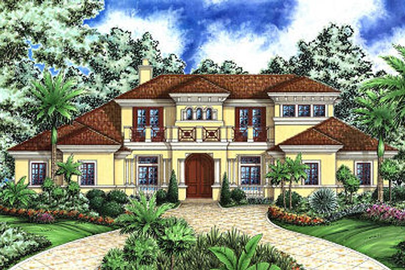 European Style House Plan - 4 Beds 5 Baths 5126 Sq/Ft Plan #27-363 Exterior - Front Elevation