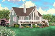 Country Style House Plan - 2 Beds 2 Baths 1280 Sq/Ft Plan #81-13785 Exterior - Front Elevation
