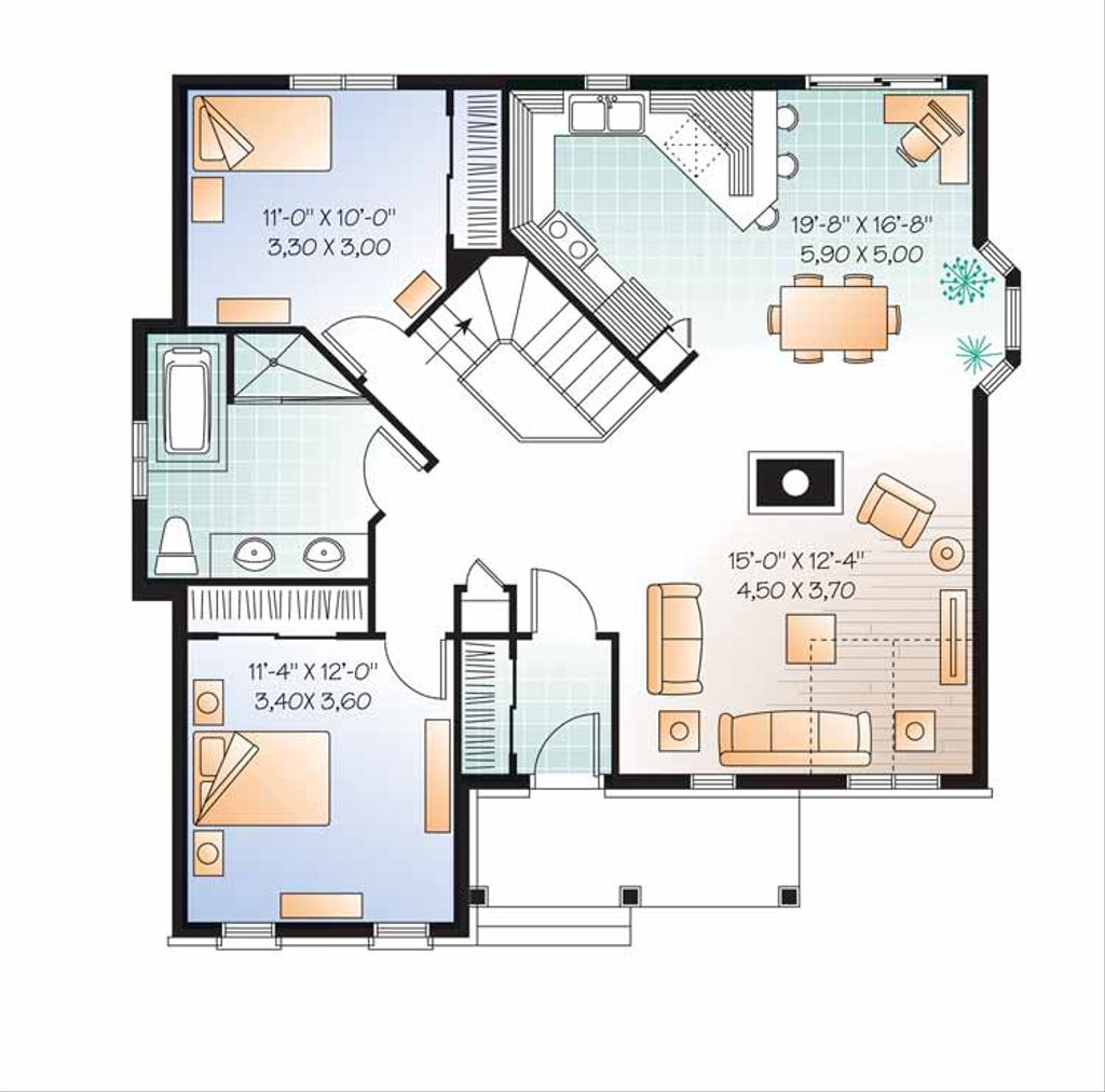 Country style house plan 2 beds 1 baths 1173 sq ft plan for Www eplans