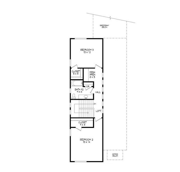 Contemporary Floor Plan - Upper Floor Plan Plan #932-7