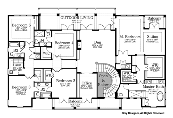 Colonial Floor Plan - Upper Floor Plan Plan #1058-82