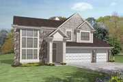 European Style House Plan - 4 Beds 3 Baths 2770 Sq/Ft Plan #50-291 Exterior - Front Elevation
