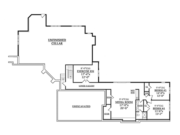 Contemporary Floor Plan - Lower Floor Plan #314-287