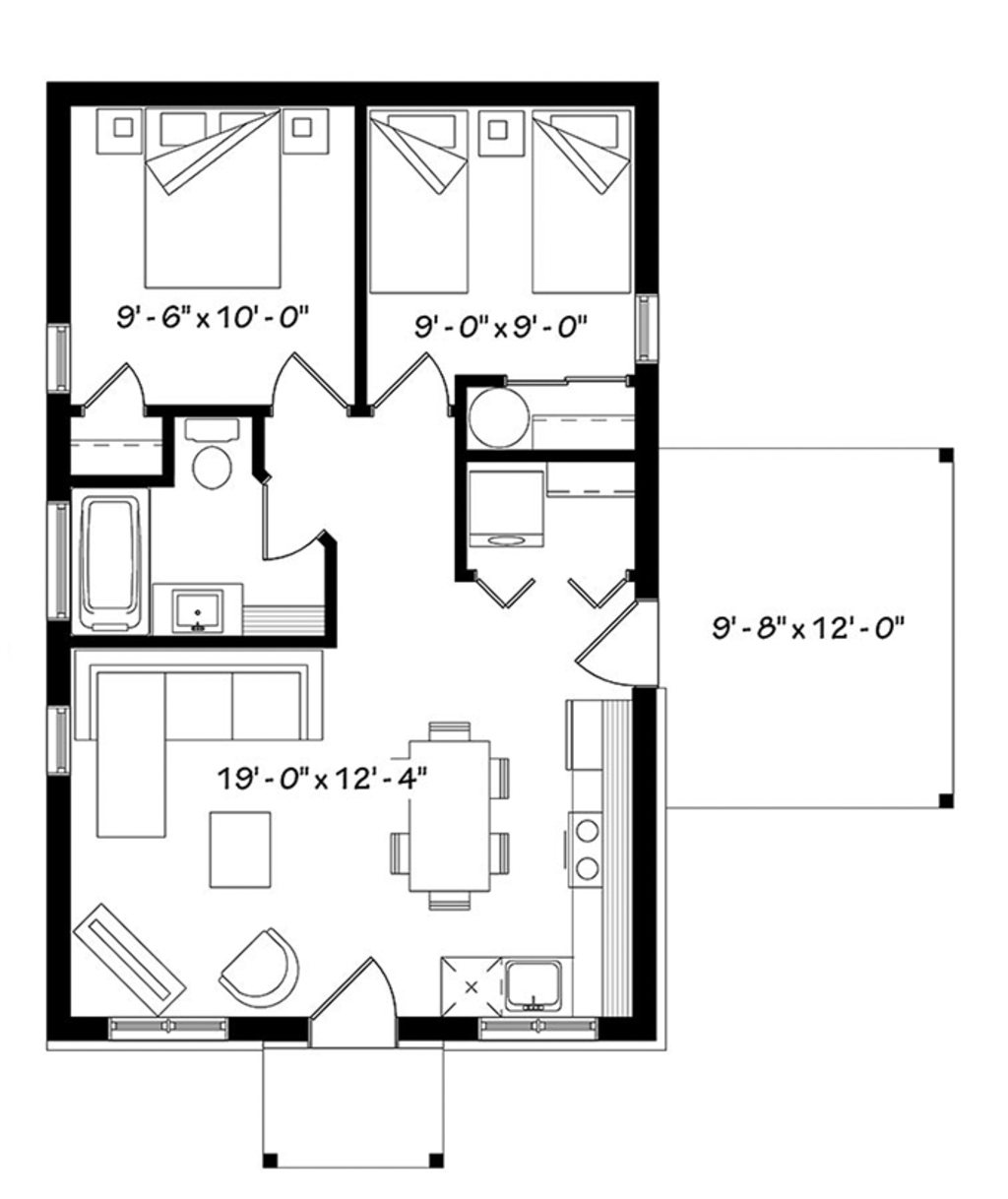 Ranch style house plan 2 beds 1 baths 643 sq ft plan 23 for Main floor