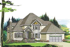 European Exterior - Front Elevation Plan #47-375