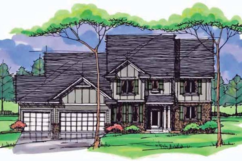 Colonial Exterior - Front Elevation Plan #51-1018