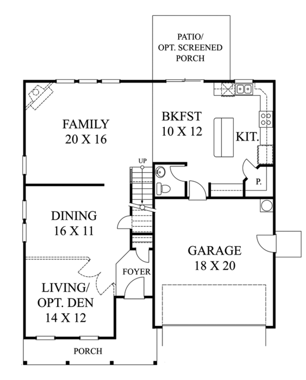 Traditional Floor Plan - Main Floor Plan Plan #1053-50