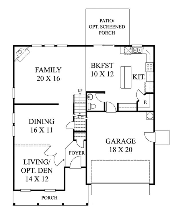 Traditional Floor Plan - Main Floor Plan Plan #1053-50