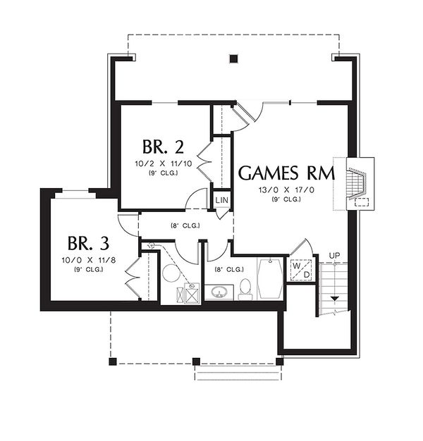 Lower Level floor plan - 1400 square foot cottage