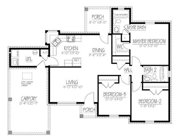 Ranch Floor Plan - Main Floor Plan Plan #1061-30