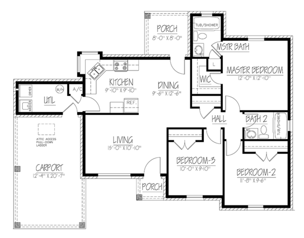 Ranch Floor Plan - Main Floor Plan Plan #1061-30