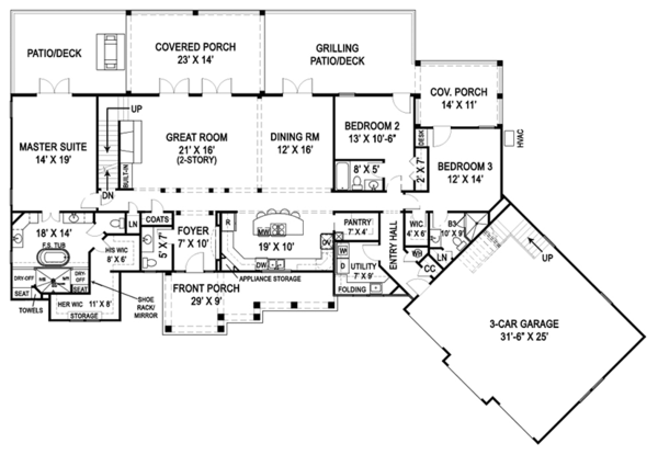 Craftsman Floor Plan - Main Floor Plan Plan #119-426