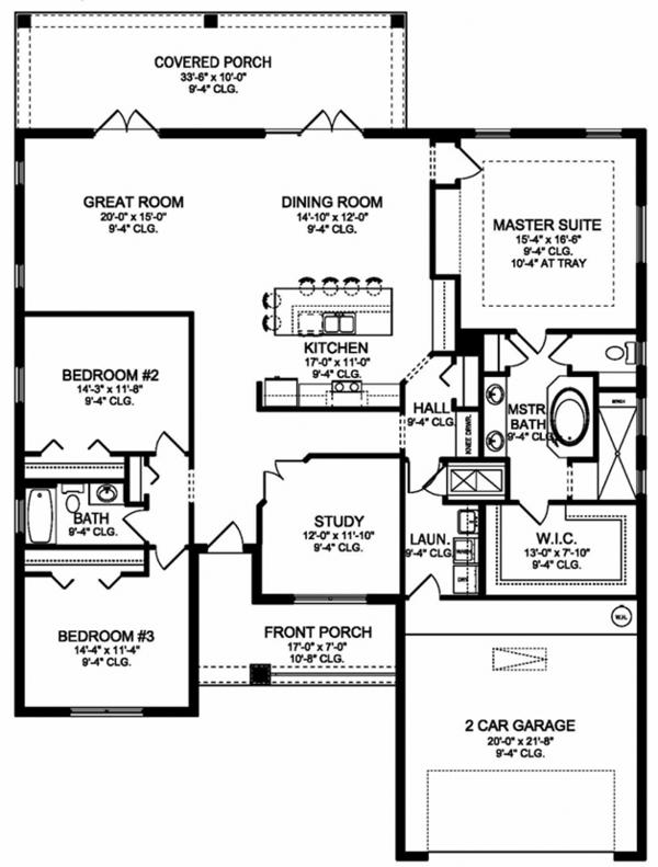 Colonial Floor Plan - Main Floor Plan Plan #1058-123