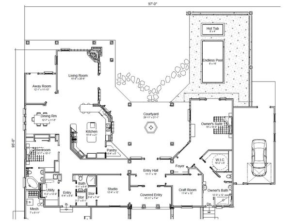Adobe / Southwestern Floor Plan - Main Floor Plan Plan #451-19