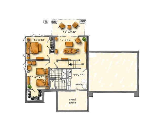Country Floor Plan - Lower Floor Plan Plan #942-47