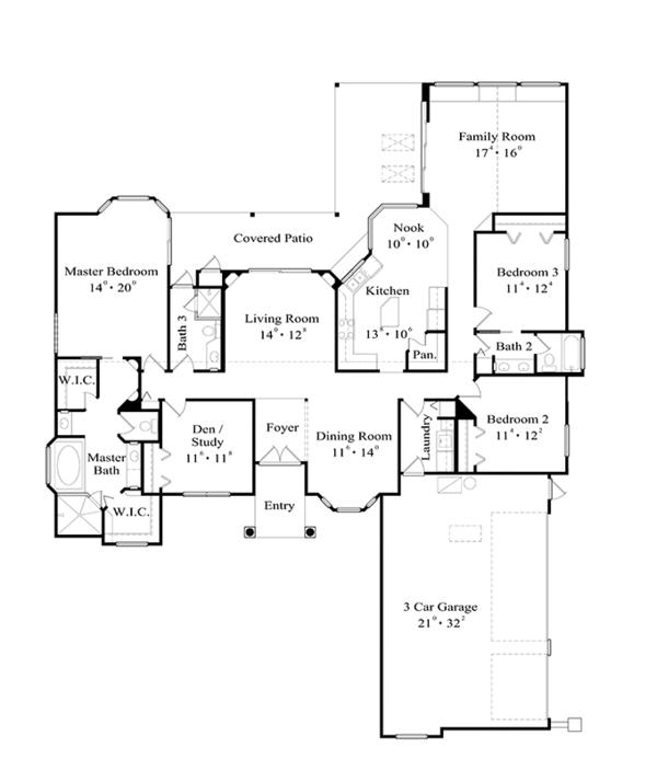 Mediterranean Floor Plan - Other Floor Plan Plan #417-799