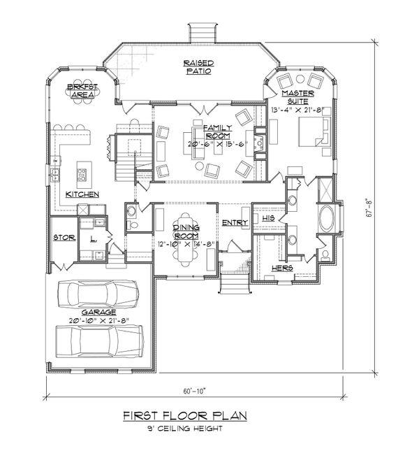 Traditional Floor Plan - Main Floor Plan Plan #1054-79