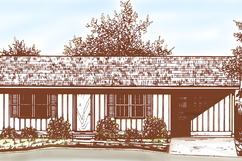 Ranch Exterior - Front Elevation Plan #30-242