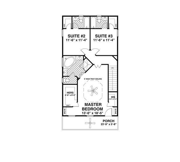 Craftsman Floor Plan - Upper Floor Plan Plan #56-638