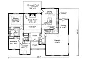 Traditional Style House Plan - 3 Beds 2 Baths 1792 Sq/Ft Plan #46-517 Floor Plan - Main Floor Plan