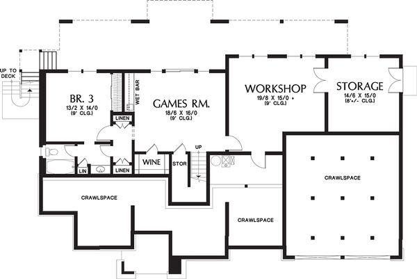 Dream House Plan - Prairie Floor Plan - Lower Floor Plan #48-657