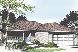 Dream House Plan - Ranch Exterior - Front Elevation Plan #100-102