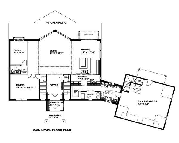 Architectural House Design - Traditional Floor Plan - Main Floor Plan #117-907