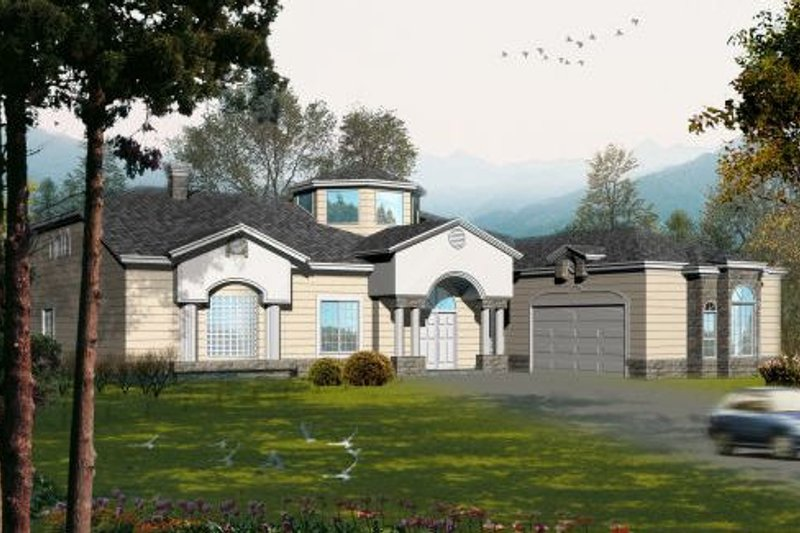 Adobe / Southwestern Style House Plan - 5 Beds 3.5 Baths 4235 Sq/Ft Plan #1-1133 Exterior - Front Elevation