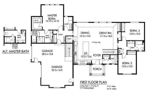 Ranch Floor Plan - Main Floor Plan Plan #1010-241