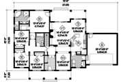 Country Style House Plan - 4 Beds 2 Baths 1896 Sq/Ft Plan #25-4542 Floor Plan - Main Floor