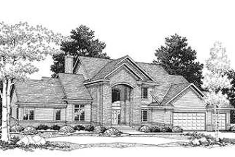 European Style House Plan - 4 Beds 3.5 Baths 3015 Sq/Ft Plan #70-473 Exterior - Front Elevation
