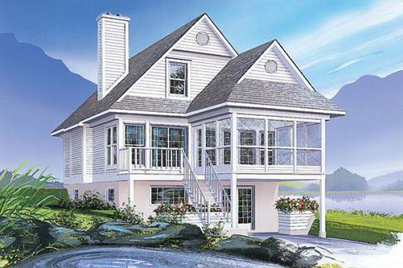 Beach Style House Plan - 3 Beds 2 Baths 1484 Sq/Ft Plan #23-492 Exterior - Front Elevation